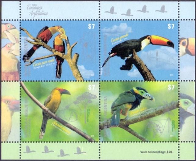 Birds of Argentina, souvenir sheet, MINT, 2015