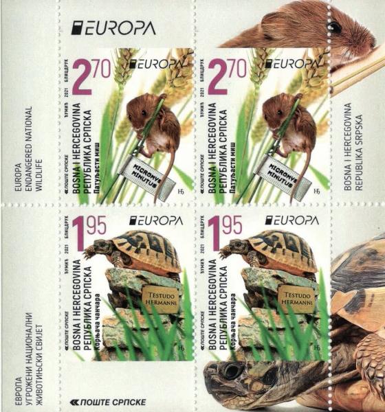 Chanchares (Testudo hermanni) and Dwarf Mouse (Micromys minutus), souvenir sheet,MNH, 2021