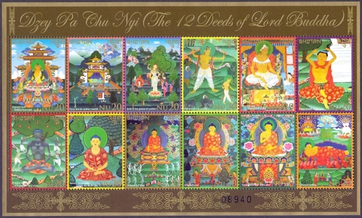Twelve Deeds (Buddha), souvenir sheet with 12 stamps, MINT, 2014