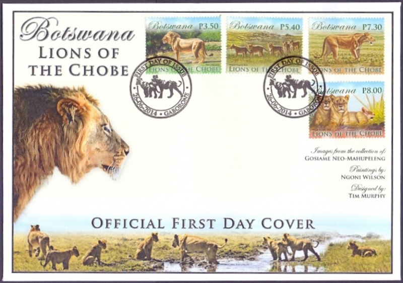 Lions of the Chobe, FDC, 2014