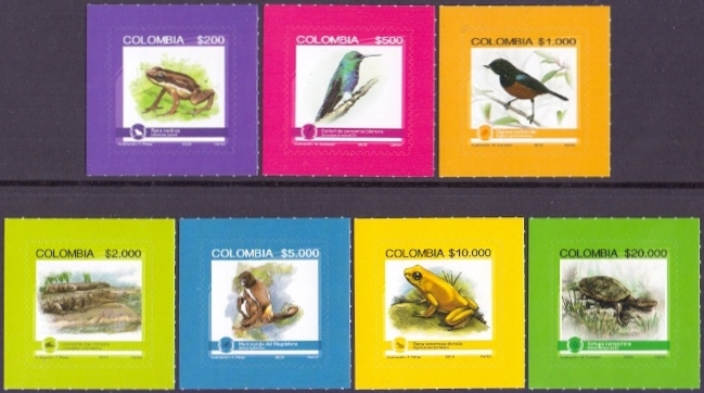 Fauna of Colombia, set of 7 self-adhesives stamps, MNH, 2015