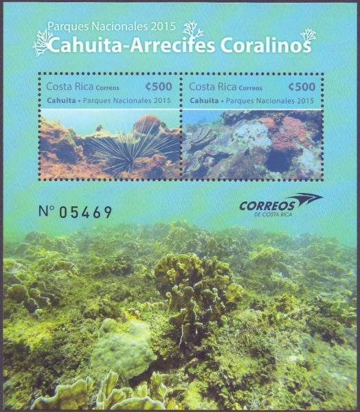 National Park - Cahuita, Coral Reef, souvenir sheet with 2 stamps, MNH, 2015