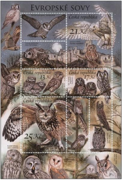 Czech Republic - Nature Protection - Owls, souvenir sheet, MINT, 2015