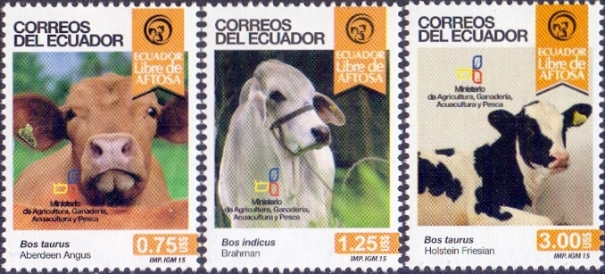Cows, set of 3 stamps, MINT, 2015