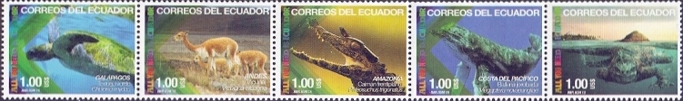 Fauna of Ecuador, set of 5 stamps, MNH, 2015