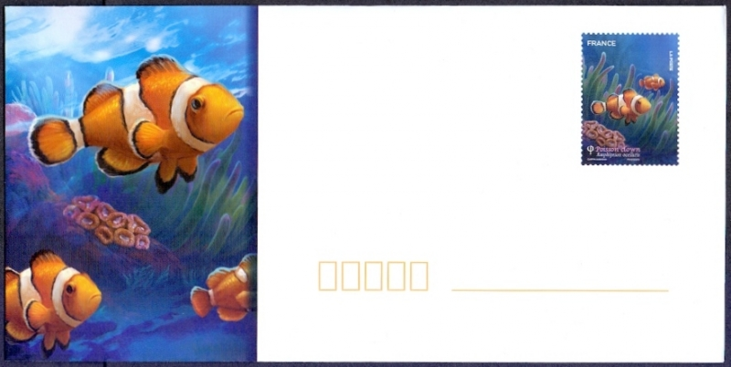 Clown Fish (Amphiprion ocellaris), envelope with printed stamp, MINT, 2012