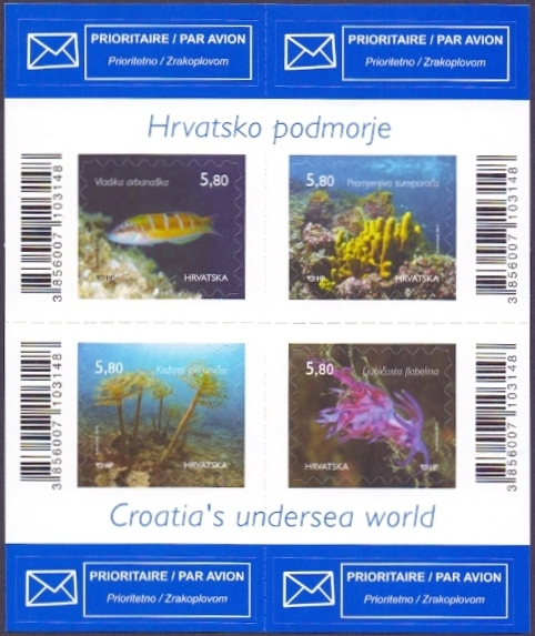 Croatian Undersea World, booklet of 4 self-adhesive stamps, MINT, 2014