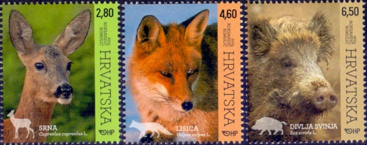 Croatian Fauna: Roe Deer, Fox, Wild Boar, set of 3 stamps, 2015