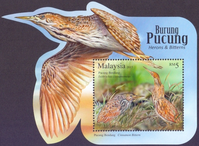 Herons and Bitterns, souvenir sheet, MINT, 2015