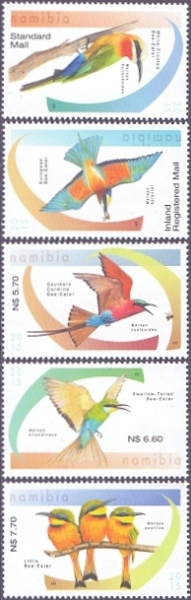 Bee-eaters of Namibia, set of 5 stamps, MINT, 2015