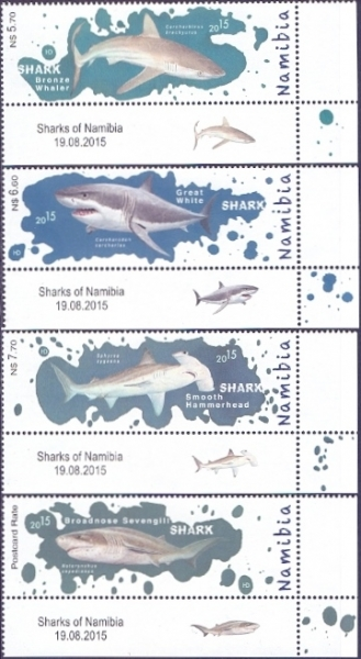 Sharks of Namibia, set of 4 stamps, MINT, 2015