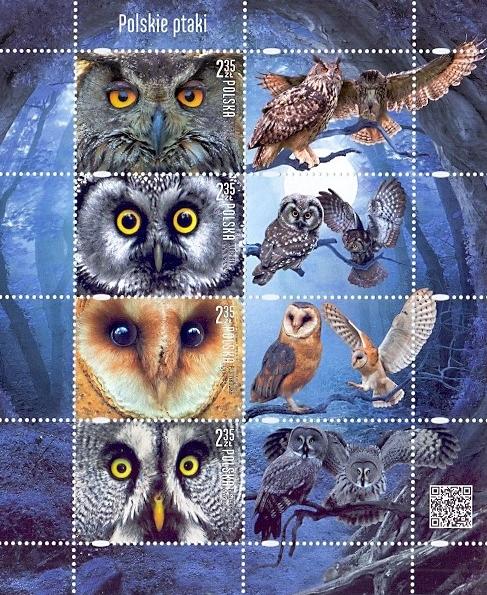 Polish birds: Owls, souvenir sheet, MINT, 2015