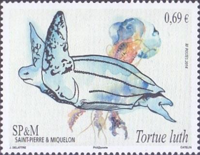 Leatherback Turtle (Dermochelys coriacea) and Jellyfish, stamp, MINT, 2014