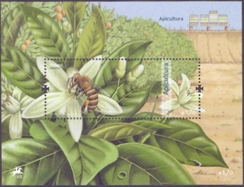 Bees from Portugal - 1, souvenir sheet, MINT, 2013