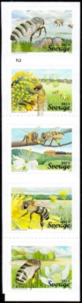 Bees, set of 5 self-adhesive stamps, MINT, 2015