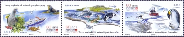 Birds and Animals of TAAF, set of 3 stamps, MINT, 2015