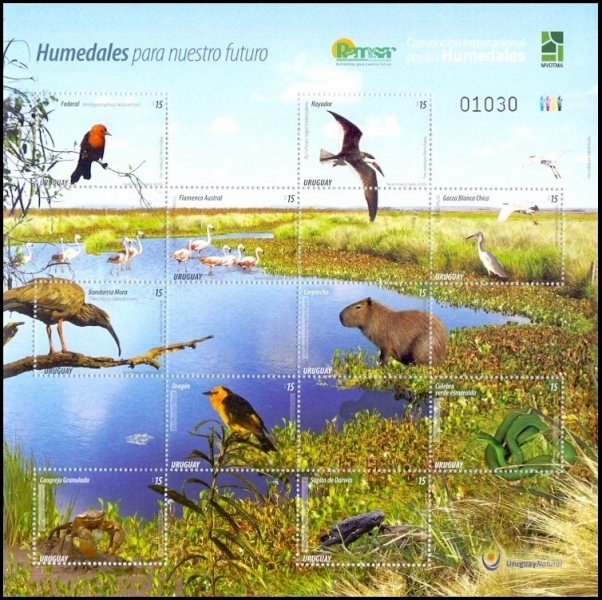 Wetlands in Uruguay,  souvenir sheet, MINT, 2015