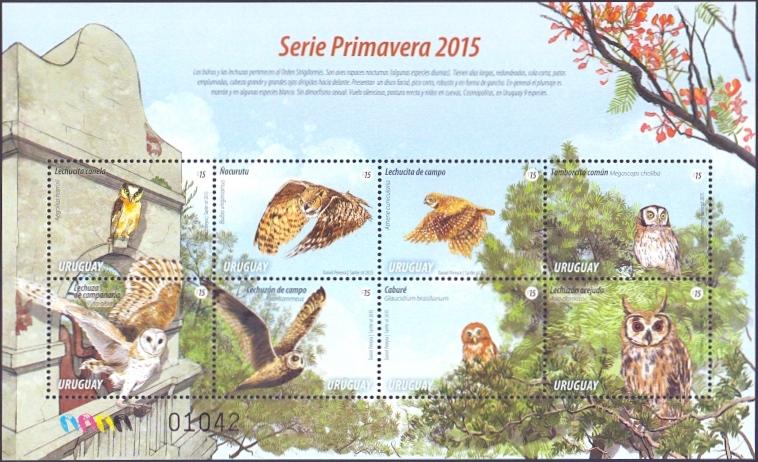 Owls of Uruguay, souvenir sheet, MINT, 2015