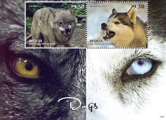 Dogs /Bequia/, souvenir sheet with 2 stamps, MINT, 2014