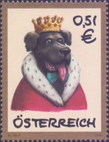 Dog in the royal robe, stamp, MINT, 2002