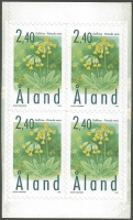 Cowslip (Primula veris), symbol of Aland, set of 4 self-adhesive stamps, MINT, 1999