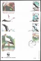 Conservation: White Stork (WWF), set of 4 FDCs, 1998