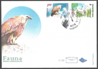 Native protected birds: Griffon vulture and Spoonbill, FDC, 2000