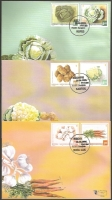 Vegetables - Potato, Cauliflower,Borecole, Cabbage, Garlic and Carrot, set of 3 FDCs, 2006