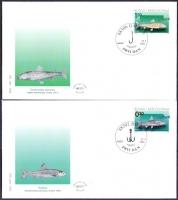 Fish, set of 2 FDCs, 2001