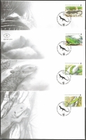 The Fauna of BiH: Giant green lizard (Lacerta trilineata), set of 4 FDCs, 2010