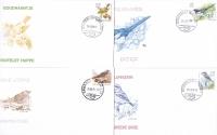 Birds: Fieldfare, Gold Crest, Great Grey, Magpie, set of 4 FDCs, 2001