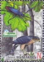 Bird of prey, Beetle, stamp, MINT, 2014