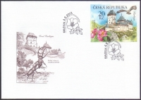 Karlstejn castle, Rosa, Bird of prey, FDC, 2013