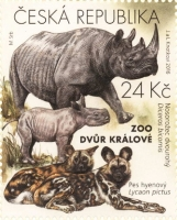 Black Rhinoceros and Hyena Dogs, stamp, MINT, 2016