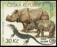 Indian Rhinoceros and Blue Lizard, stamp, MINT, 2017