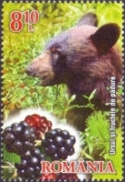 Bear and Wild Berries, stamp, MINT, 2014