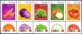 Vegetables: Tomato, Onion, Lettuce,  Purple Cabbage, Carrot, set of 5 stamps with tab,2015