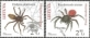 The Red Book of Lithuania - Spiders, set of 2 stamps, MINT, 2012